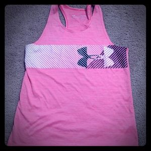 Under Armour heatgear pink  YLG tank active wear